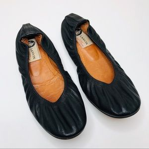 Lanvin Soft Black Leather Ballet Flats Size 7-7.5